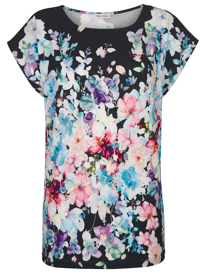 Alba Moda Strandshirt mit Aquarellblumen, Marineblau