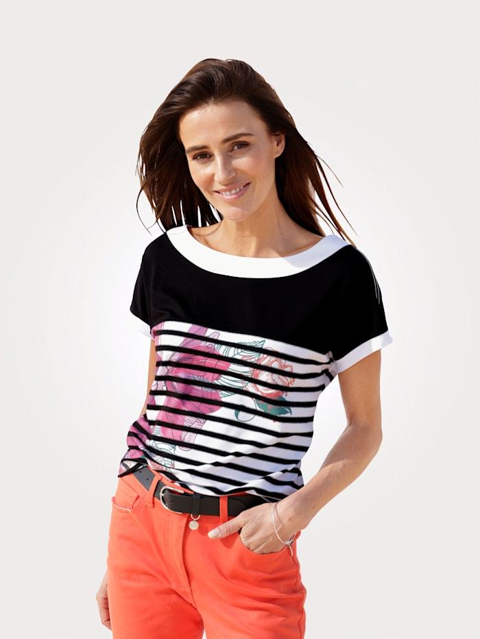MONA Shirt mit platziertem Druck, Weiß/Schwarz/Pink