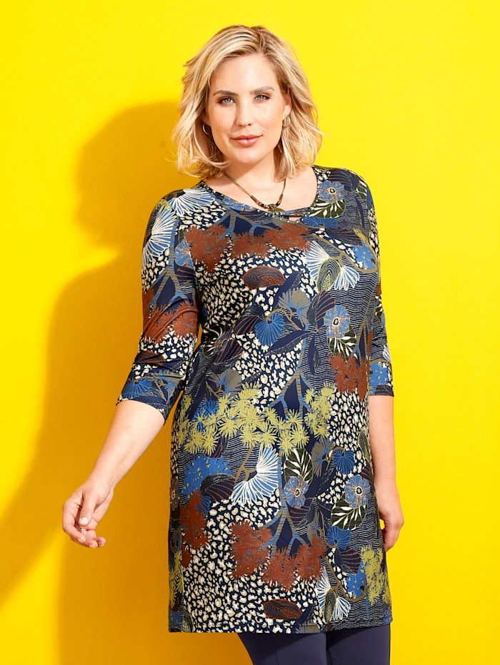 m. collection Longshirt mit Verzierung am Ausschnitt, Multicolor