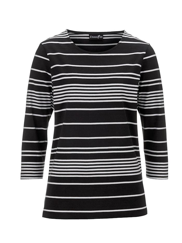 Dress In Ringelshirt mit 3/4-Ärmeln, Schwarz/Weiß