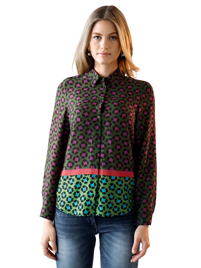AMY VERMONT Blouse met grafisch patroon, Groen/Paars/Rood/Oranje/Blauw