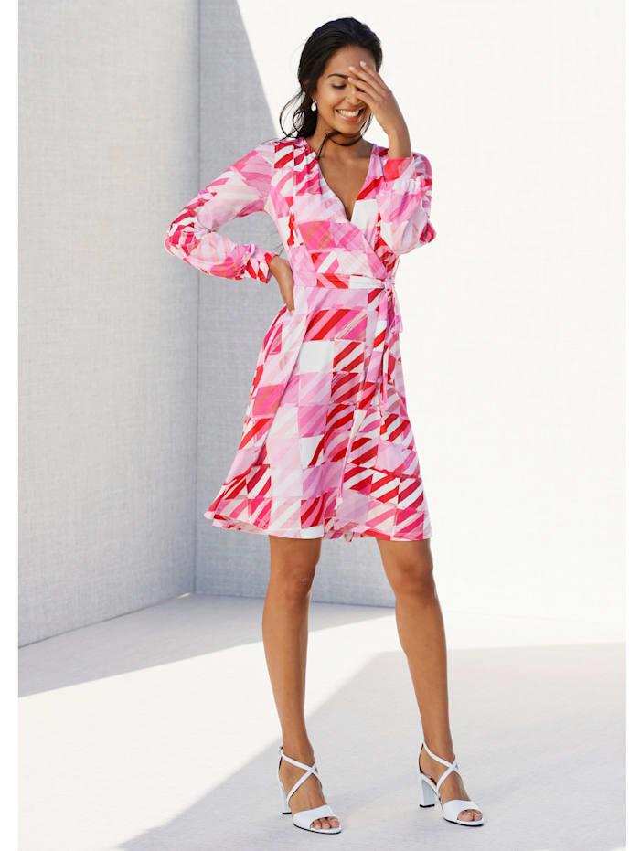 AMY VERMONT Kleid mit Wickeloptik im Vorderteil, Rosé/Pink