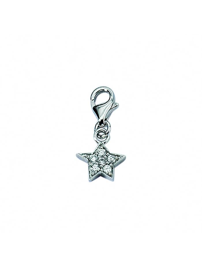 1001 Diamonds Damen Silberschmuck 925 Silber Charms Anhänger Stern mit Zirkonia, silber