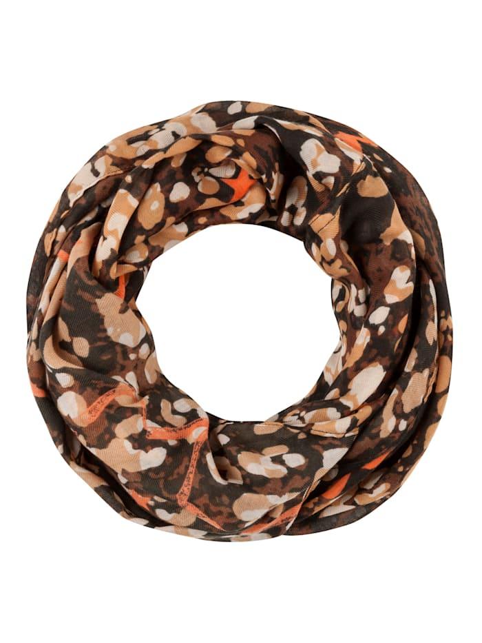 Codello Softer Loop mit Kussmund- und Sternmotiven aus recyceltem Polyester, camel