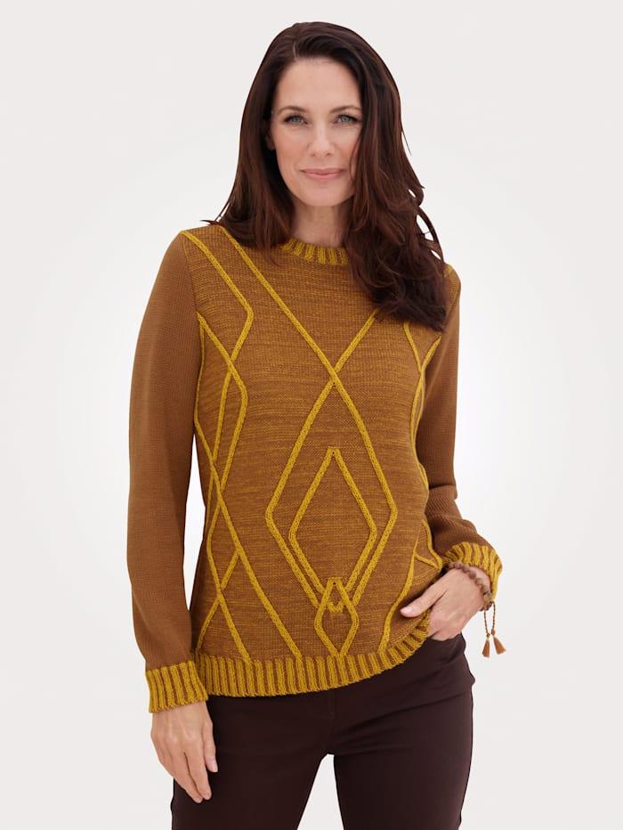 MONA Pullover mit platziertem Strukturstrickmuster, Braun/Ockergelb