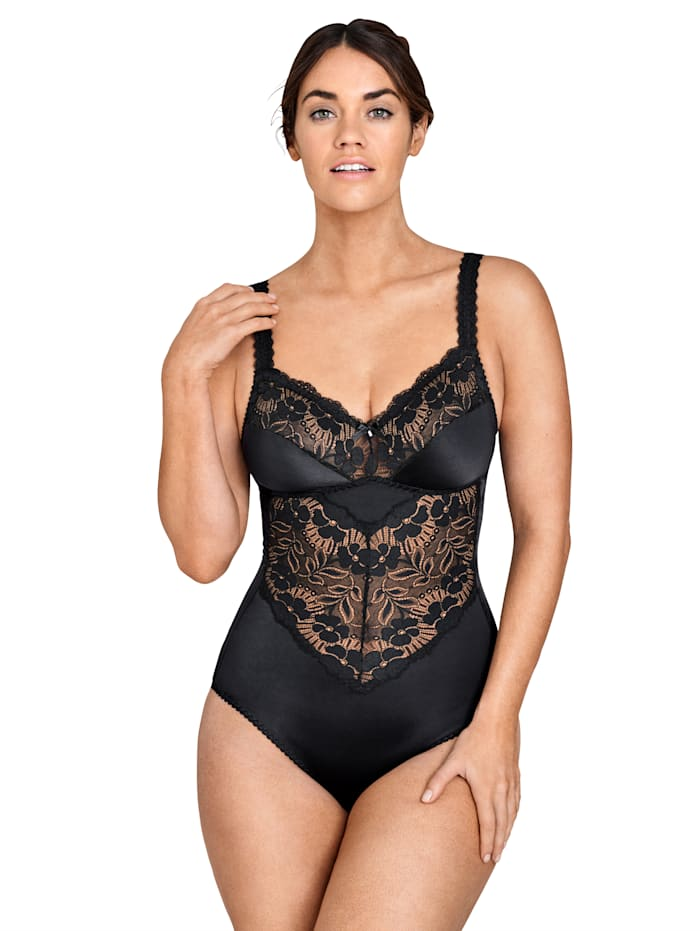 Miss Mary Body Empiècements en dentelle transparente, Noir
