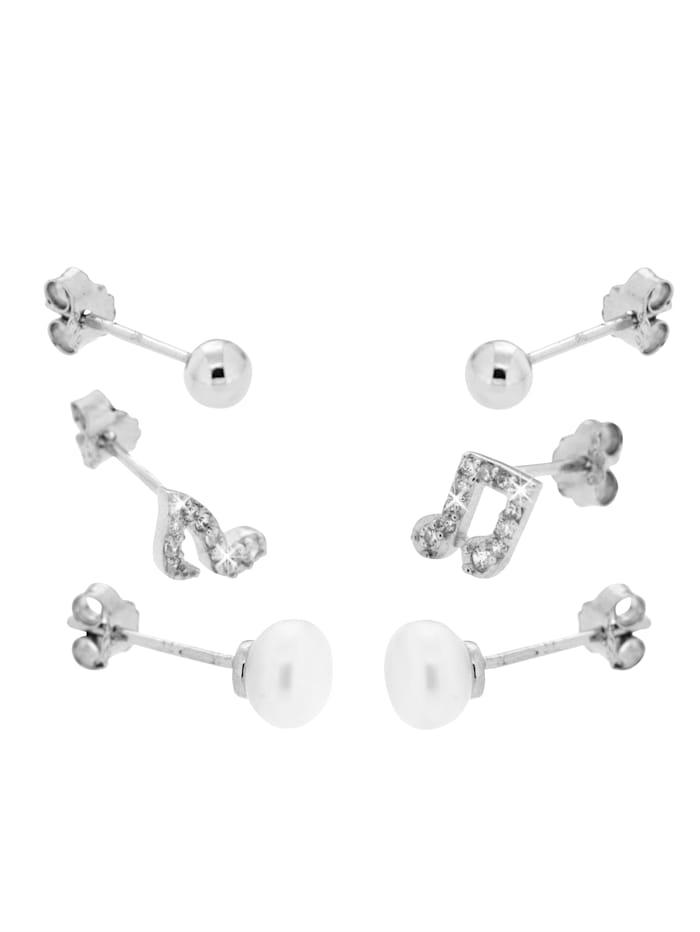 Grazielli 3-delige set oorstekers, Zilverkleur