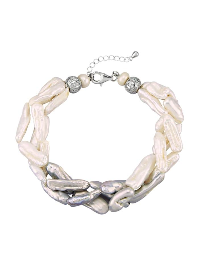 Armband med odlade sötvattenspärlor, Vit