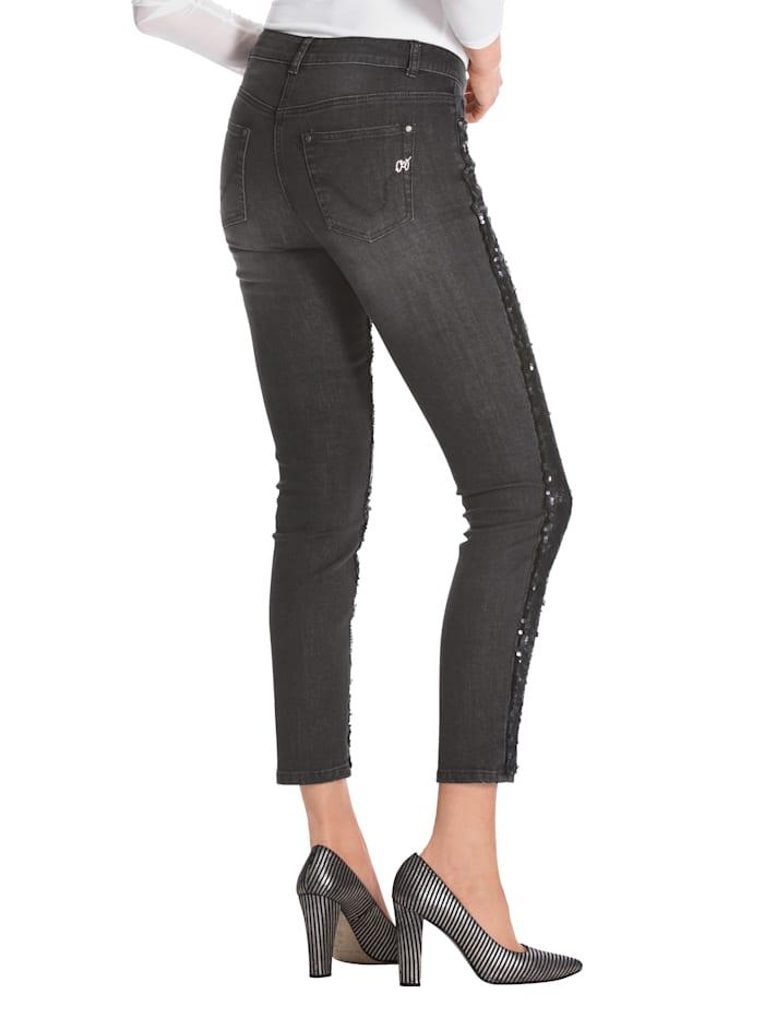 Jeans met keerbare pailletten