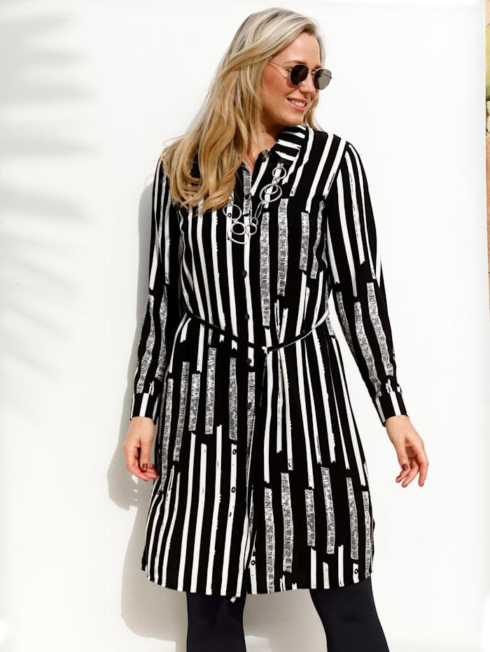 MIAMODA Skjortklänning med knappar och knytband, Svart/Vit