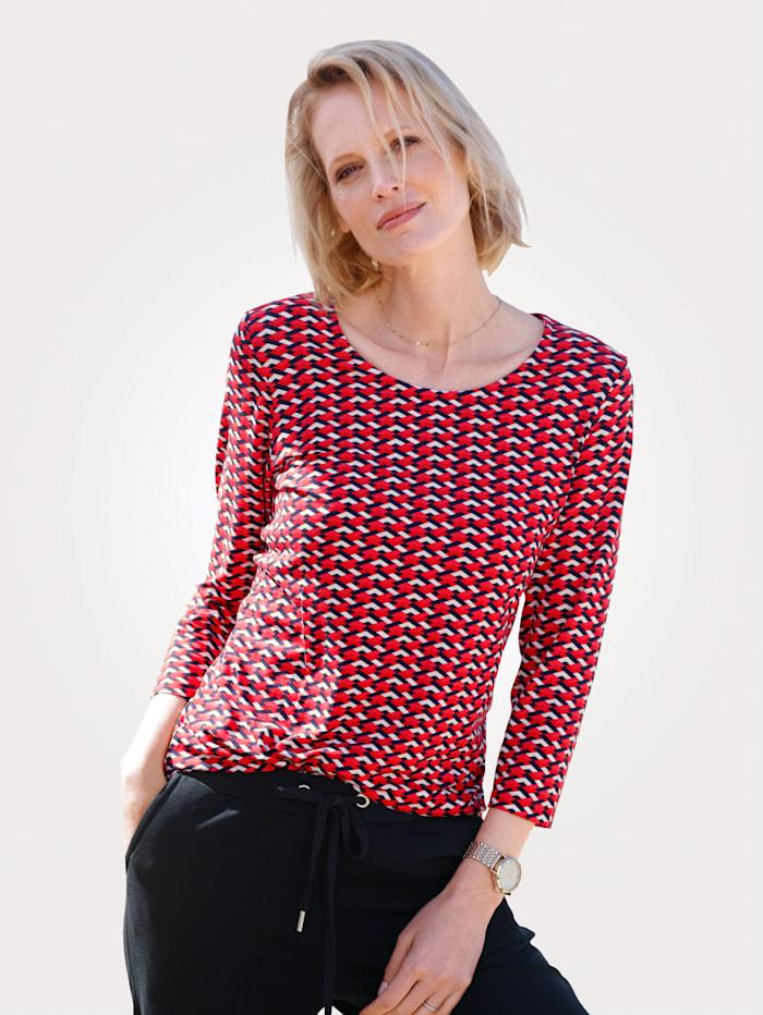 MONA Shirt mit Allover-Druck, Rot/Weiß/Marineblau