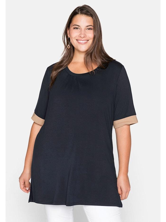 Sheego Shirt mit Kontrastbündchen, aus Viskose, nachtblau