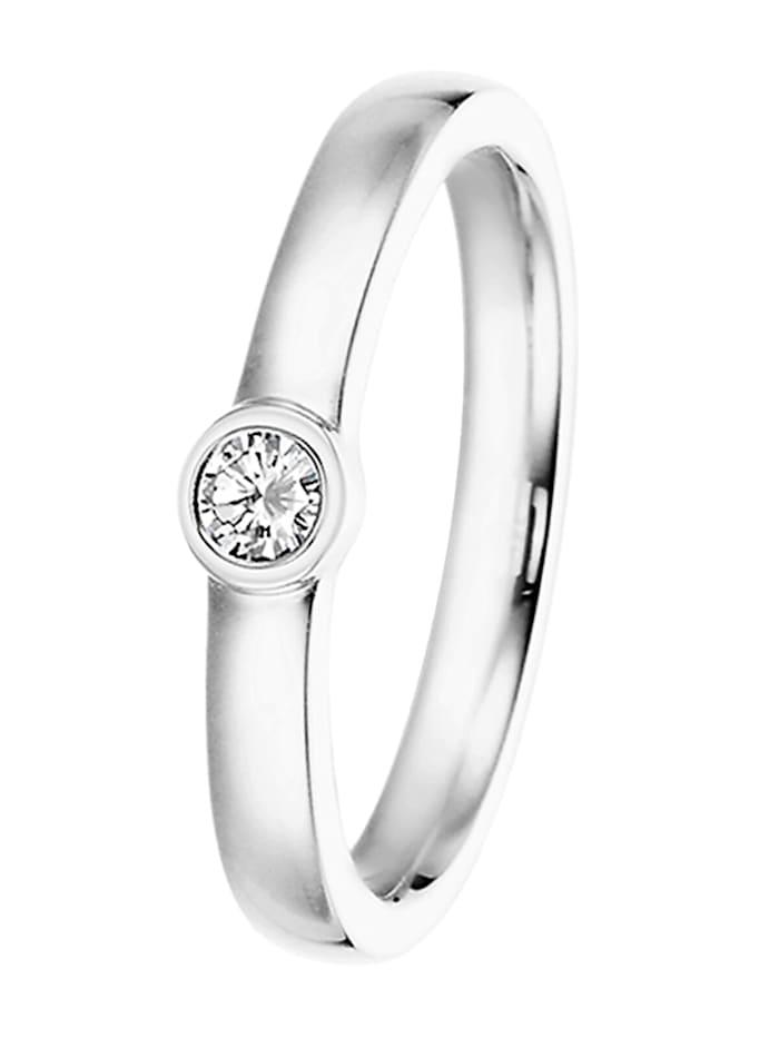 trendor Verlobungsring 585 Weißgold Damenring mit Diamant 0,15 ct, silber