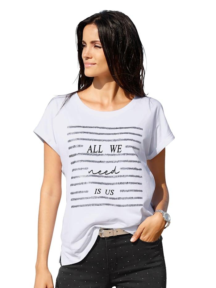 Shirt met opschrift en pailletten