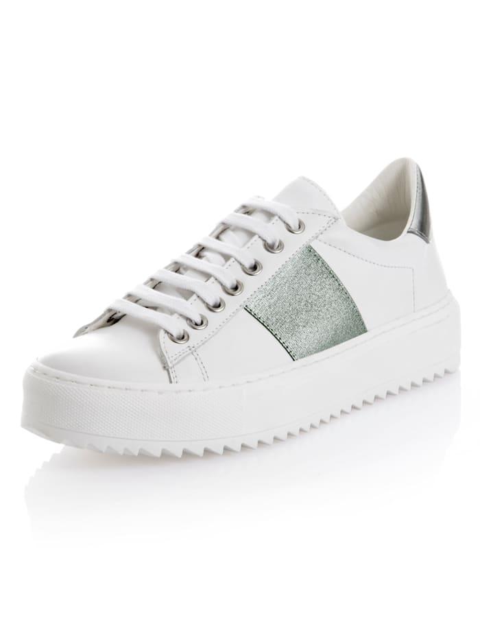 Alba Moda Sneaker aus Kalbsleder, Weiß/Silberfarben