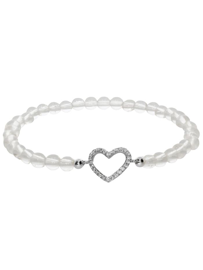 1001 Diamonds Herz Bergkristall Armband 925 Silber 17 cm, transparent