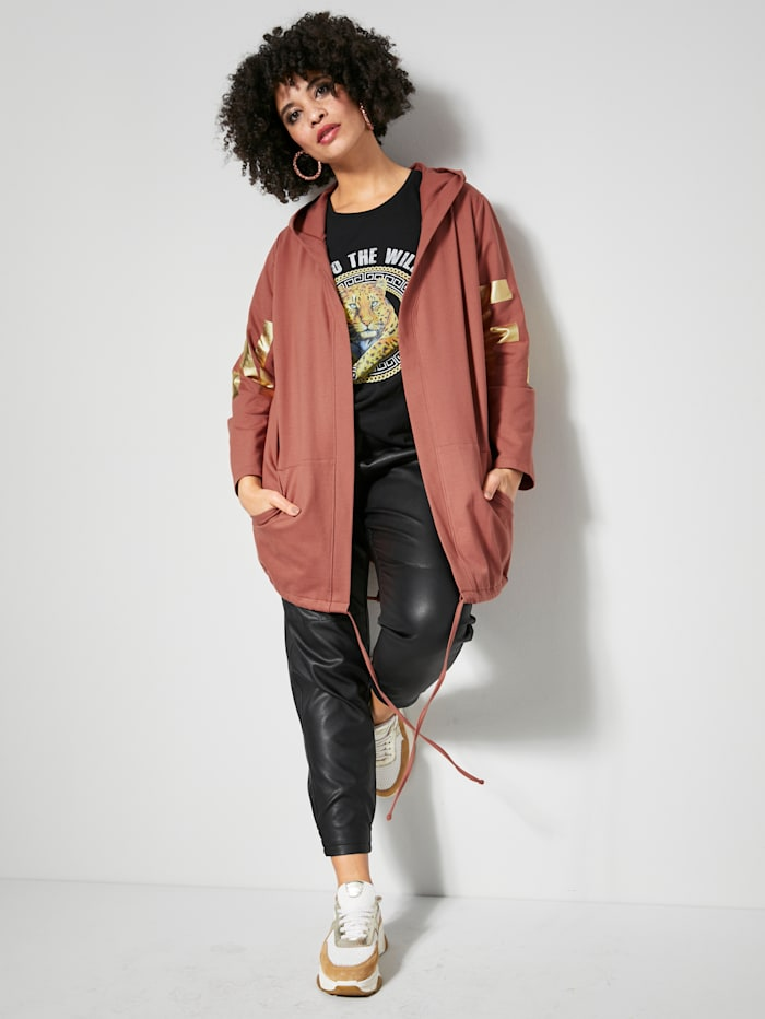 Angel of Style Sweatjacke mit 'Fashion' Print an den Ärmeln und Rücken, Haselnuss