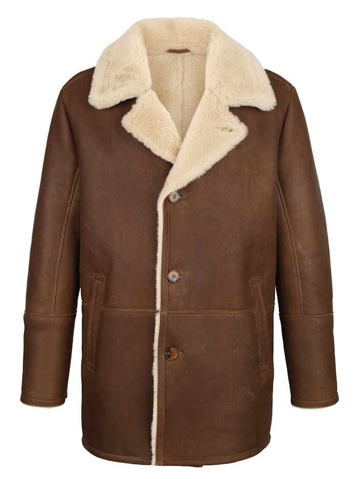 BABISTA Veste en cuir en cuir d'agneau ciré, Marron