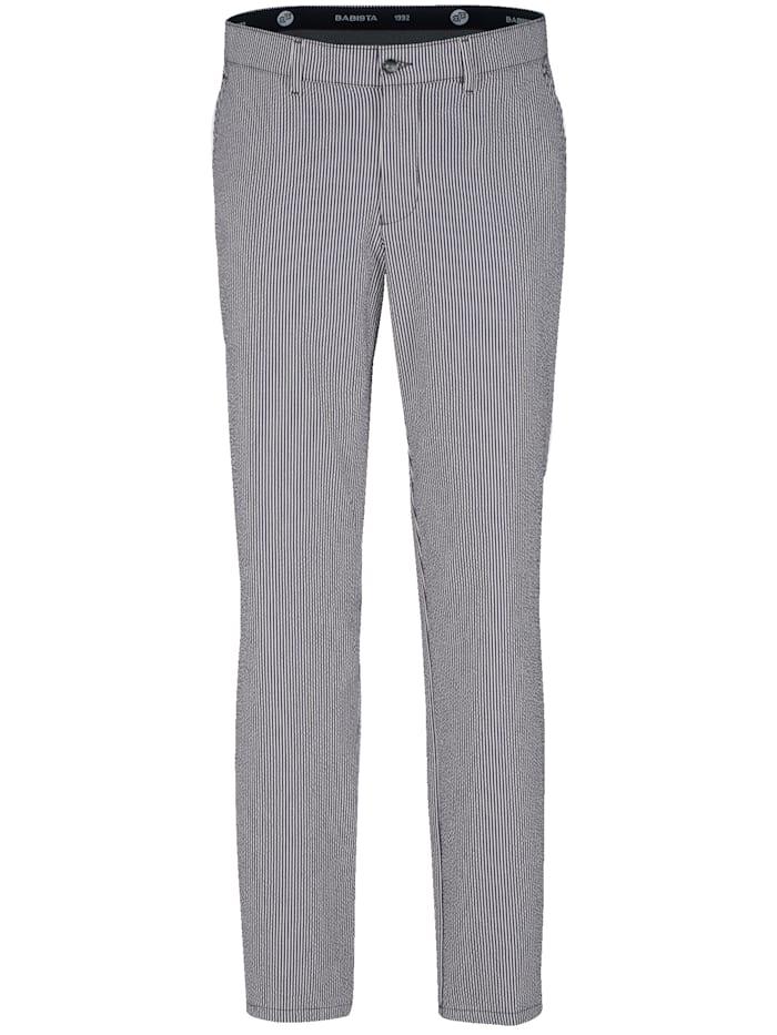 BABISTA Pantalon en seersucker estival, Marine/Blanc