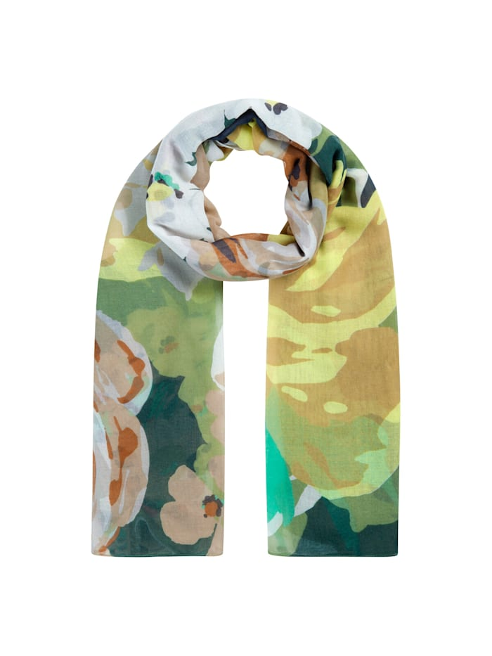 Codello Softweicher Blumen-Schal aus recyceltem Polyester, olive