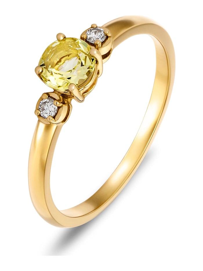 CHRIST GOLD CHRIST Gold Damen-Damenring 375er Gelbgold 1 Lemonquarz, gold