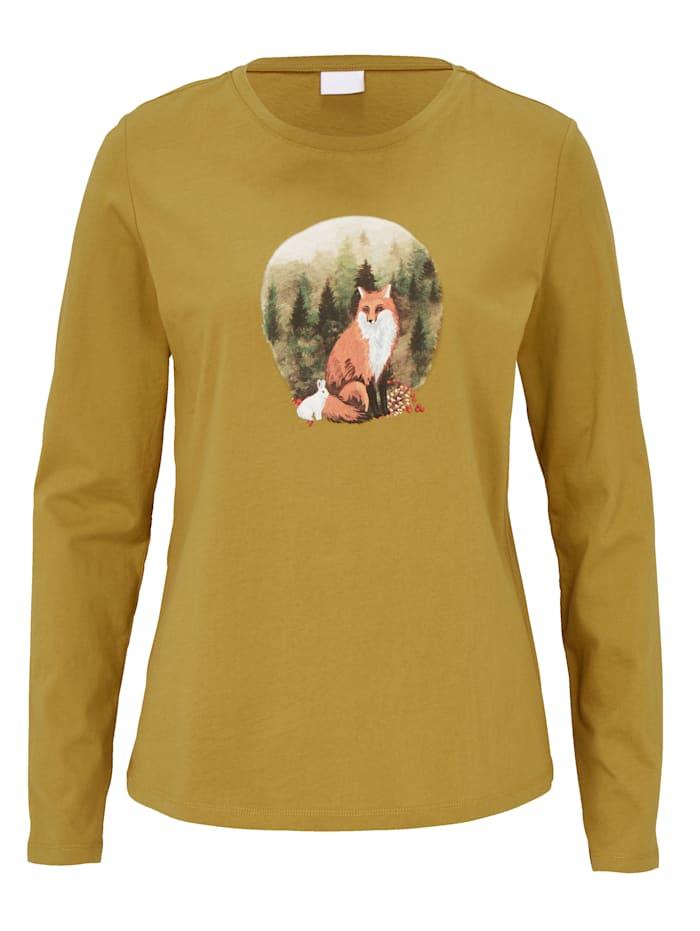 REKEN MAAR Shirt mit Fuchsprint, Ockergelb