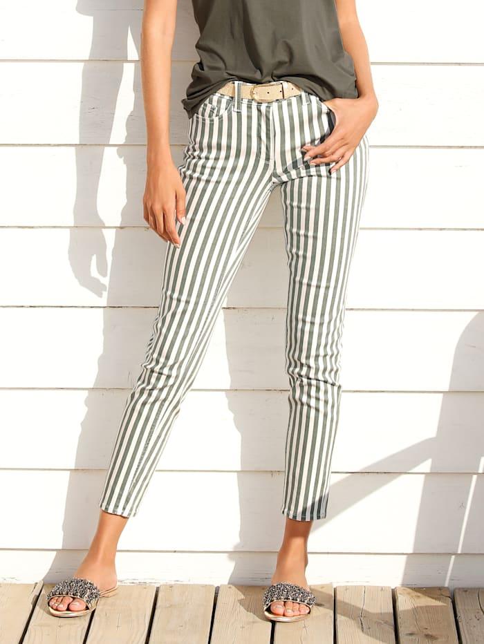 Jeans im Streifendruck allover
