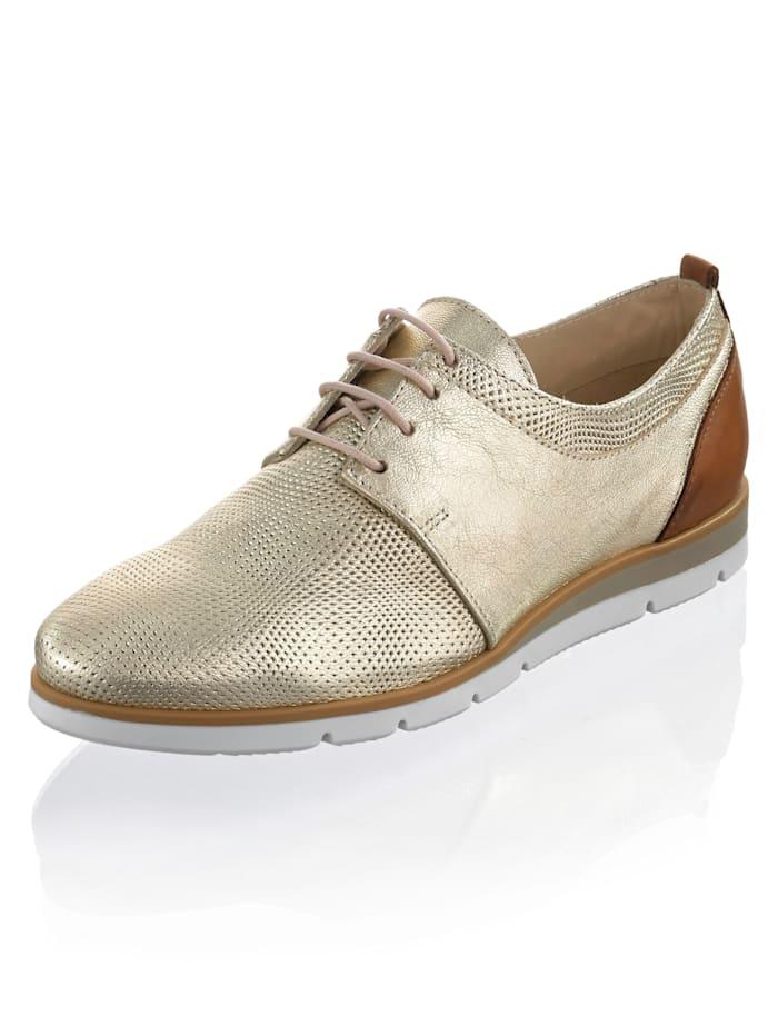 Alba Moda Šnurovacia obuv s malým klinovým podpätkom, Zlatá