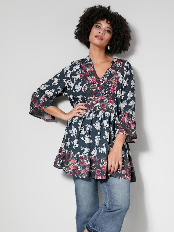 Angel of Style Tunika-Bluse in kaschierender Schnittform, Dunkelgrün