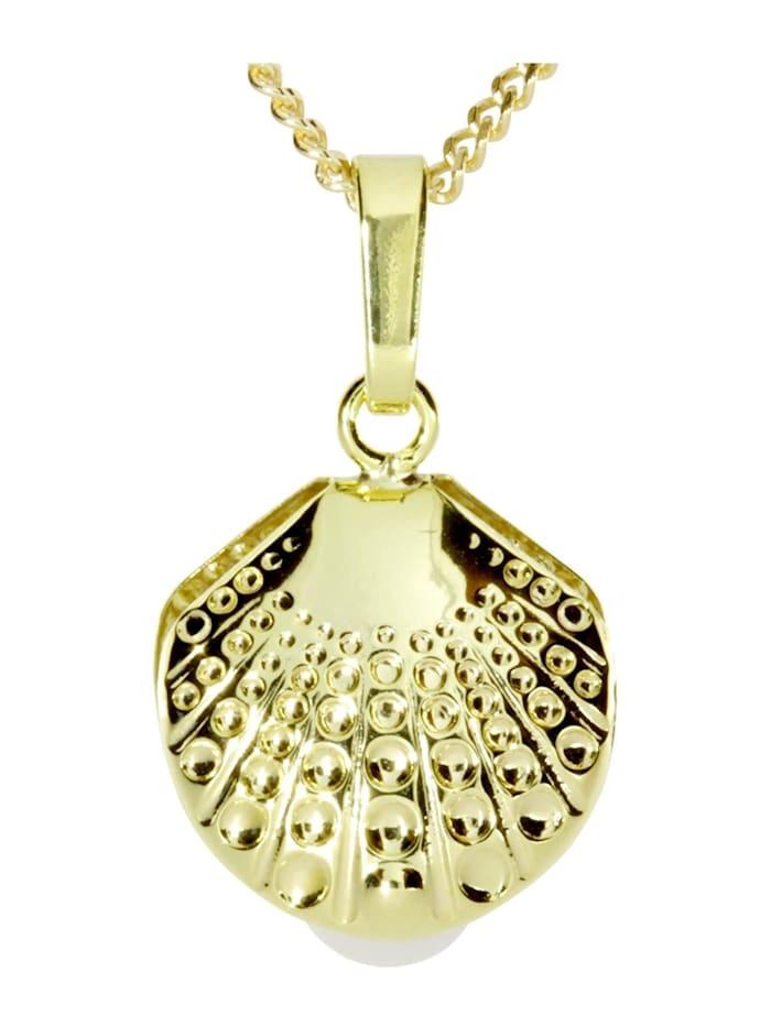 OSTSEE-SCHMUCK Kette mit Anhänger - Muschel - Gold 333/000 -, gold