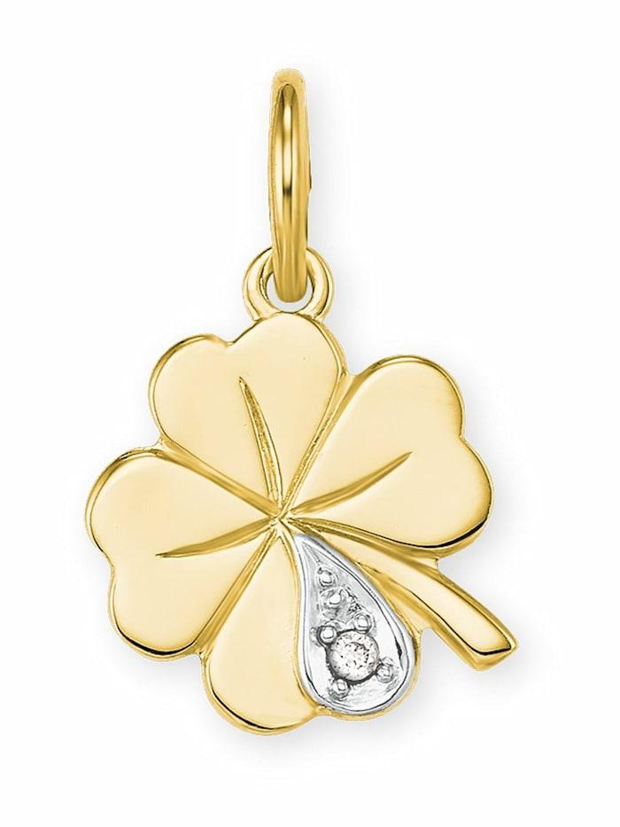 amor Anhänger für Damen, Gold 585, Diamant Kleeblatt, Bicolor