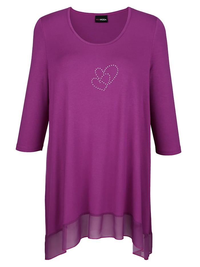 T-shirt long avec cœurs en pierres fantaisie scintillantes
