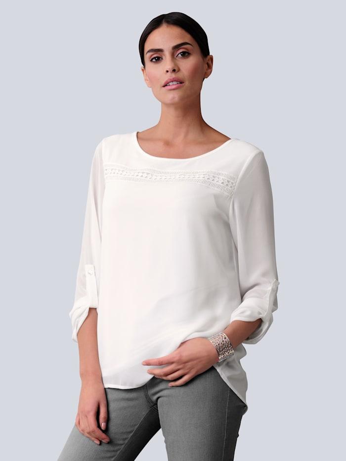Alba Moda Bluse mit eingesetzter Blende aus Spitze, Off-white
