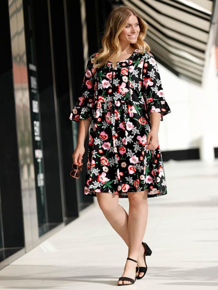 Sara Lindholm Jerseykleid mit Blumendruck, Schwarz/Rosé