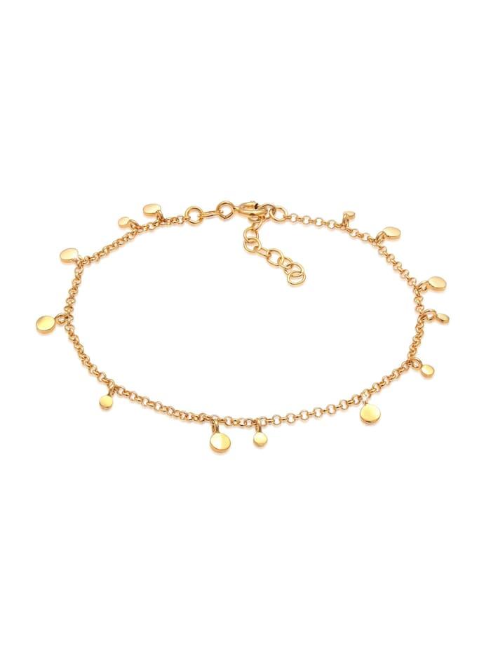 Elli Armband Plättchen Coin Kreis Boho Look 925 Silber, Gold