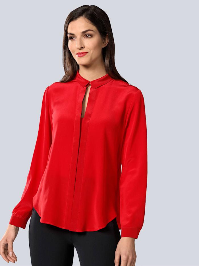 Alba Moda Hemdbluse mit Faltendetail, Rot