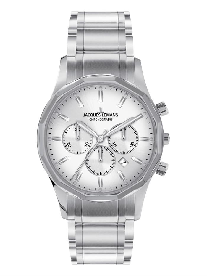 Jacques Lemans Herrenuhr-Chronograph Stoclholm, Classic 1-2020B, Silberfarben