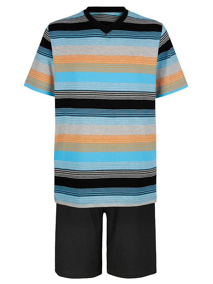 Pyjashort, Noir/Turquoise/Orange