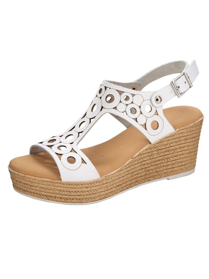 Sandaaltje met zomerse openingen, Wit