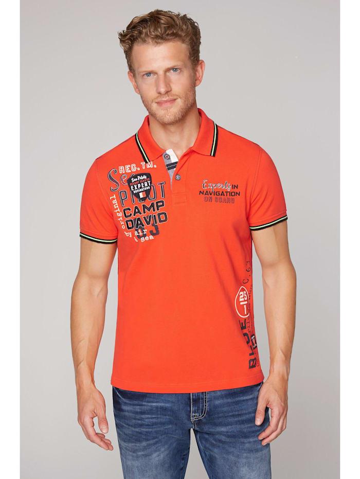 Camp David Poloshirt aus Pikee mit vielen Artworks, signal orange