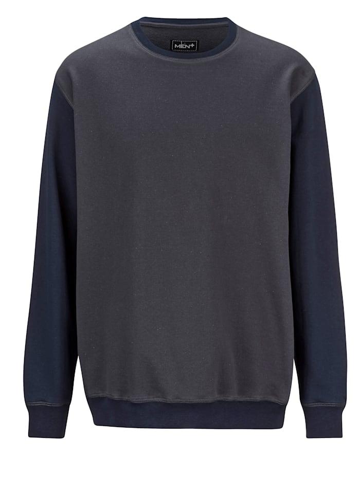 Men Plus Sweatshirt aus reiner Baumwolle, Dunkelgrau/Marineblau