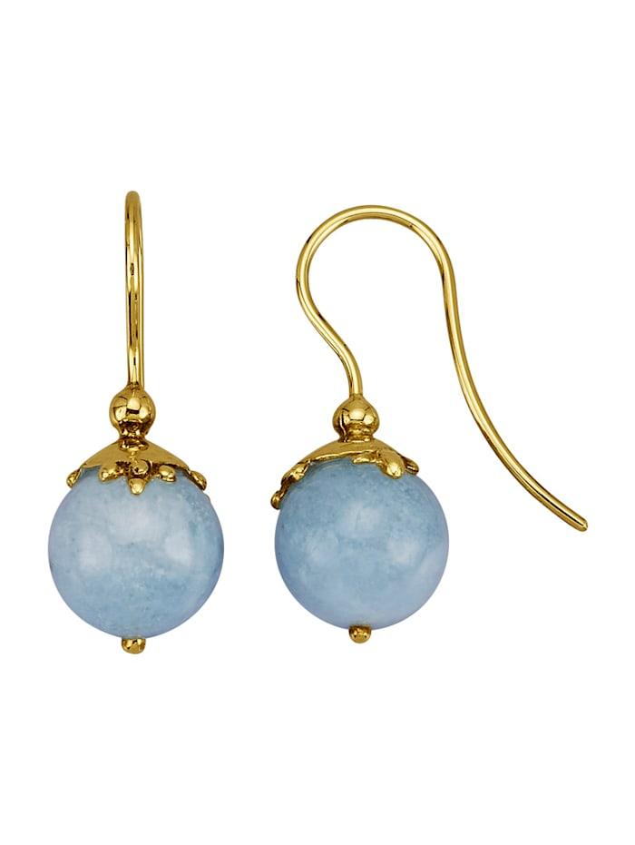 Amara Pierres colorées Boucles d'oreilles en or jaune 585, Bleu