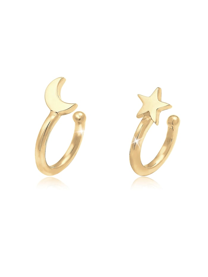 Elli Ohrringe Earcuff Klemme Halbmond Stern Astro 925 Silber, Gold