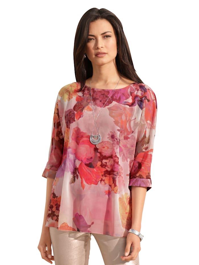 AMY VERMONT Bluse mit floralem Muster, Rosé/Off-white/Orange