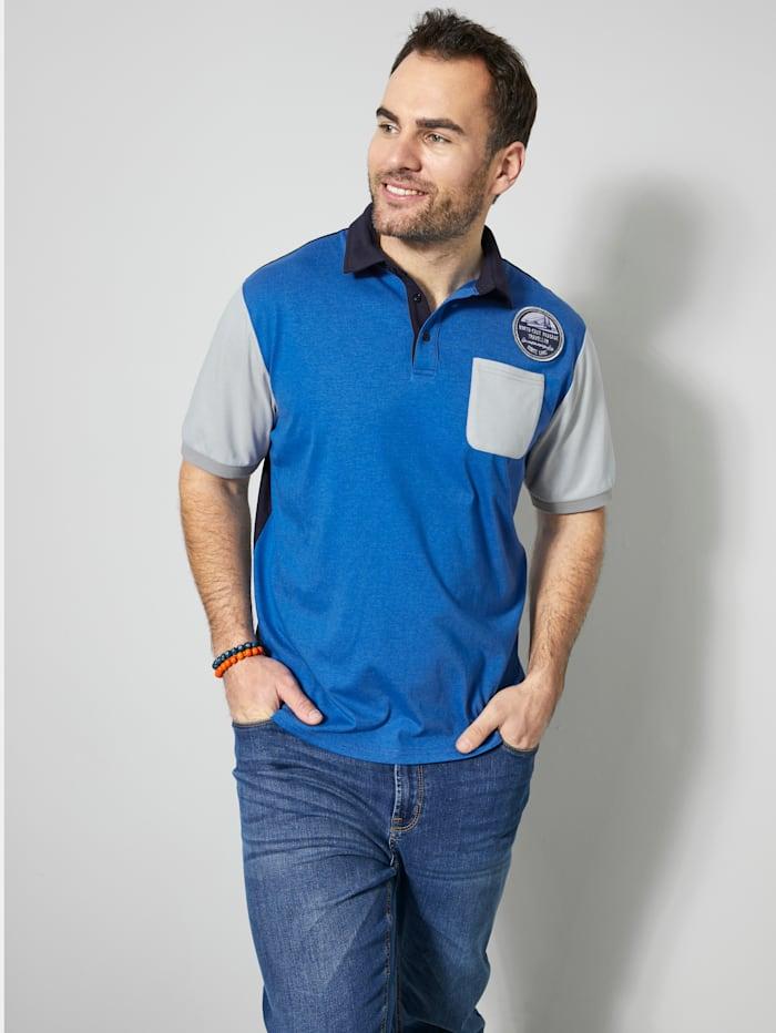 Men Plus Poloshirt mit angesagten Kontrastdetails, Blau/Marineblau/Grau