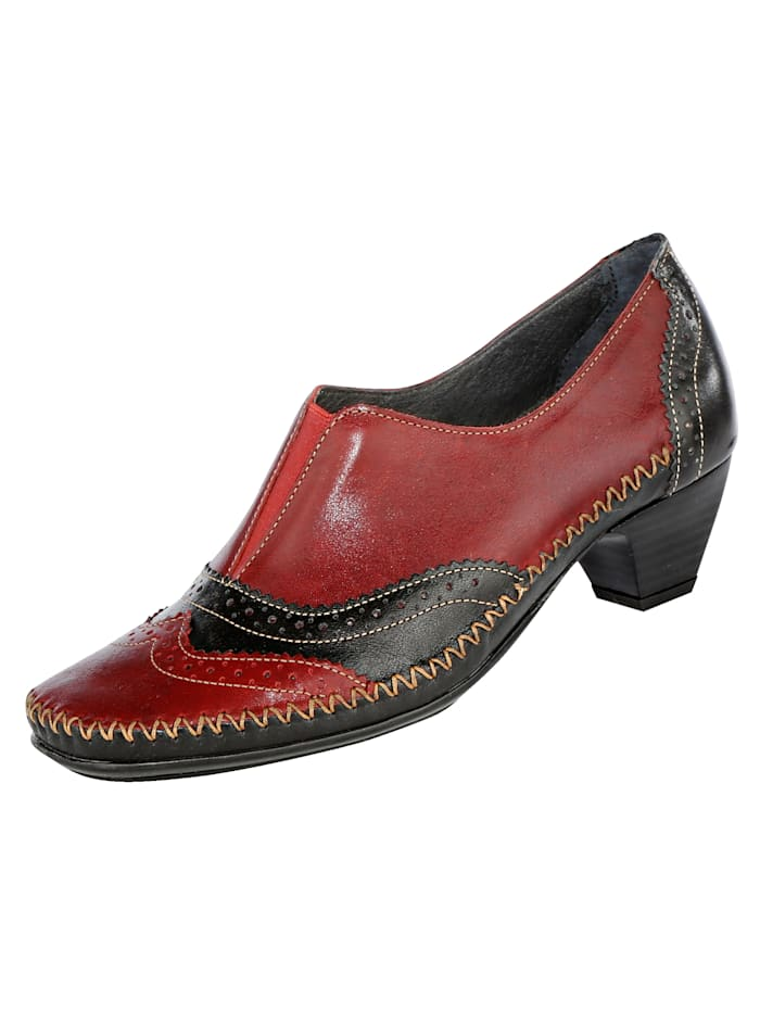 Naturläufer Court shoes with fashionable lyra perforation, Red