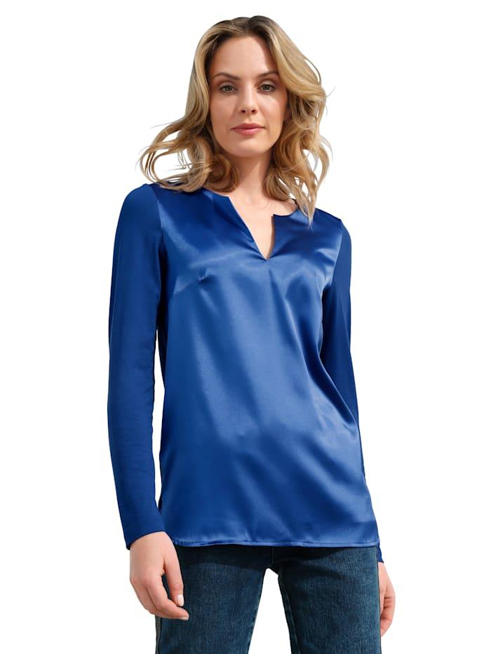 AMY VERMONT Shirt mit Satinfront, Royalblau