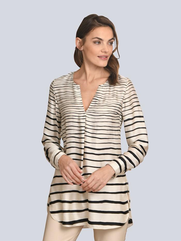 Alba Moda Bluse aus satinierter Ware, Creme-Weiß/Schwarz