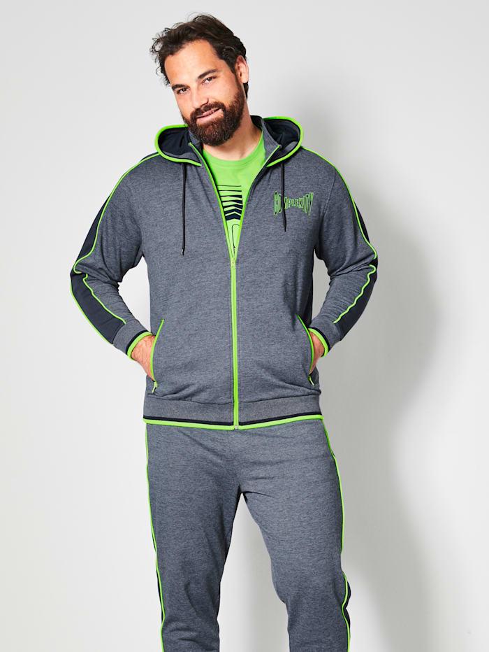 Men Plus Sweatjacke mit Kapuze, Marineblau/Neongrün
