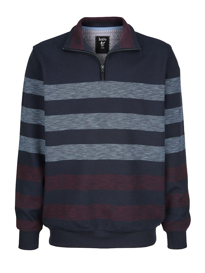 Hajo Sweat-shirt en matière haut de gamme, Marine/Vert